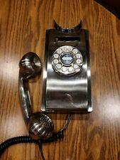 Crosley CR55-BC Brushed Chrome Art Deco Retro Wall Hung Push Dial Telephone