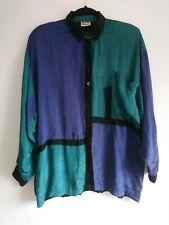 Rare Vintage Ayesha Davar Retro Colour Block Baggy Shirt Size Small S UK 8 10 12
