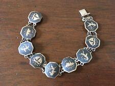 Vintage Sterling Silver Nielloware Bracelet, Siam