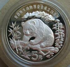 China 5 Yuan 1986 Silver Proof Coin World Wildlife Fund,Giant Panda