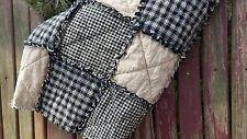 Primitive Black and Tan Homespun Rag Quilt, Country Farm Decor, Handmade in NJ