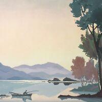 Martin Garvey painting gouache river landscape scene mid 20th century vintage