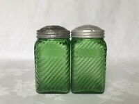 Vintage Green Hoosier Glass Shakers (2) Jars Canisters Owens Illinois Depression