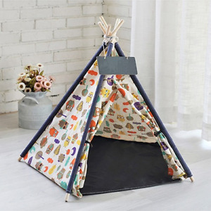 Linen Pet Tent Dog House House Washable Cat Kennel Portable Teepee Cave with Mat