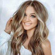 Brown Mixed Blonde Wavy Synthetic Wigs Long Curly No Front Hair