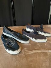 2x VANS Off The Wall Men's BLUE CASUAL DECK SHOES ~ Leather 9.5 & Canvas  9