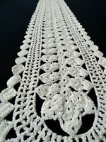 Vintage long ecru oval Table Runner hand crocheted Dresser Scarf Wedding rustic