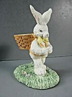 "Easter 176 Rabbit Bunny Egg Holder Standing Resin Vintage 4"" Tall Hand Painted"