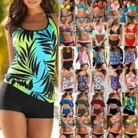Women High Waisted Bikini Set Tankini Bottom Padded Swimsuit Swimwear Bathing