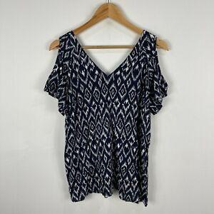 Rivers Womens Top Size 10 Blue Textile Short Sleeve V-Neck Cold Shoulder 46.17