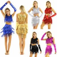 Sexy Women 3Pcs Belly Dance Costume Sequins Fringe Tassel Top Short Skirt+Gloves