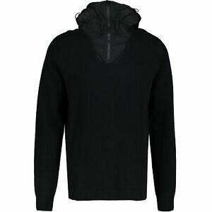 CP Company Black Hooded Google Cardigan