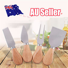 4Pcs Stainless Steel Oak Wood Handle Cheese Butter Blade Fork Set Kitchenware EA