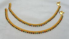 Jwellmart Bollywood Indian Traditional Gold Polish CZ Anklets Free Shipping