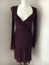 French Connection Navy Blue/ Bright Pink Stretchy Wrap Dress Size UK10 RRP  £90