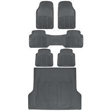 Full 3 Row Car Rubber Floor Mats Gray All Weather w/ Cargo Trunk Mat Max Duty