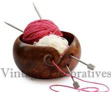 Mango Wood Yarn Bowl 6 inch for knitting, Crochet For Moms, Handmade Wooden Bowl