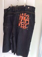 MAKAVELI BRANDED PICTURE TUPAC SHAKUR  big men's black jean shorts Size 50