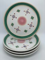 CALECA BELVIDERE Hand Painted Salad Dessert Plates Set of (4) made in Italy EUC