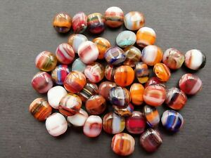 Czech glass oval olives multi colour beads 10 x 9 mm pack of 15