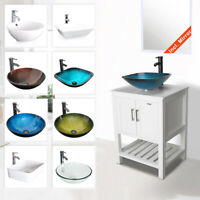 "24"" White Bathroom Vanity W/Ceramic Glass Vessel Sink Faucet Cabinet Drain Combo"