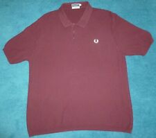 FRED PERRY SPORTSWEAR 60s REISSUES Textured Knit Polo Shirt Made in Italy Maroon