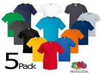 5 PACK Fruit Of The Loom V-NECK T-SHIRT PLAIN TOP COTTON LYCRA SIZES MEN OFFER
