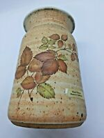 O'Keefe California Stoneware Floral Vase with Brown Green Autumn Leaves Pottery