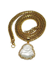 Buddha Men's Gold Plated White pendant with 8mm Thick Cuban Chain