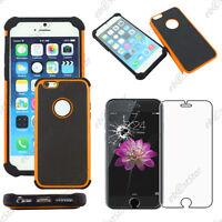 """Coque Housse Etui Rigide Silicone Armor Orange Apple iPhone 6 4,7"""" Verre"""