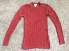 Men's La Redoute Crew Neck Ribbed Jumper, Red, Size XS