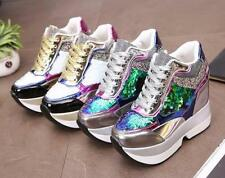 Chaussures femmes Plate-forme Bottines Shiny Glitter Hidden Wedge Sneakers