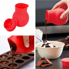 Red Silicone Chocolate Melting Pot Mould Milk Baking Pouring Tool Kitchen Gadget