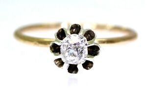 Victorian 0.25ct Cushion Cut Diamond 15ct Yellow Gold Ring size K 1/2 ~ 5 1/2