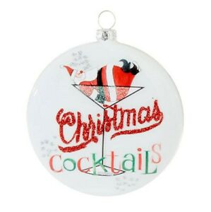 "Raz Christmas Cocktails Glass Ornament 4"" Santa Napping Martini Glass 3920082"