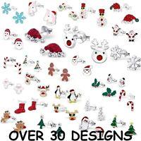 Girls 925 Sterling Silver CHRISTMAS Stud Earrings Father Santa Xmas Tree Crystal