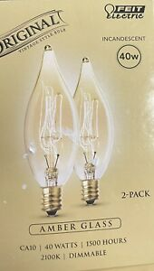 Feit Electric 40W Dimmable Incandescent Amber Glass CA10 Vintage Bulbs, 2 Pk L2