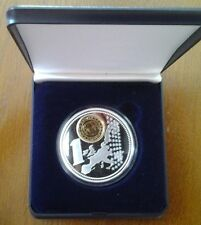 MONACO 1 EURO GILDED 2001 in capsule with cassette SILVER PLATED 4 OZ