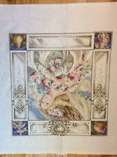 Fairy Angel Hand Painted NeedlePoint Canvas Roses Women Shabby