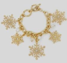 NEW Gold-Tone Snowflake Charm Bracelet Made with Clear Swarovski Crystals