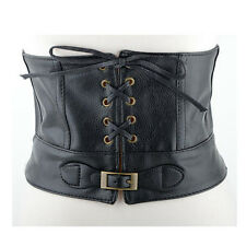 Womens Leather Fastener Wide Waist Belt Elastic Waistband Black Waist Cincher
