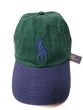 POLO RALPH LAUREN Men's Big Pony #3 Baseball Cap Hat, LEATHER STRAP Green/Blu