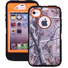 Heavy Duty Hybrid Series Dual Layer Camo Case For Apple iPhone 4 &4S Tree-Orange