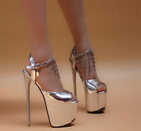Women Platform High heel Tassel Strappy Sandals Peep Toe Nightclub Shoes Plus Sz