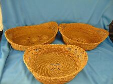 3 Antique Baskets oval shaped rattan grass filigree victorian art craft beauty