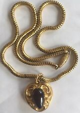 Victorian 18 CT Solid Gold Serpiente Collar Cabujón Granate Colgante c1850