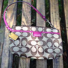 Coach Wristlet NWOT Magenta Purple Pink Lining Strap Authentic Keychain Purse