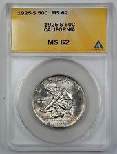 1925-S California Commemorative Silver Half Dollar ANACS MS 62 (Better Coin) (B)