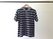 FRED PERRY POLO STRIPED SHORT SLEEVE GOLF SHIRT BLACK GRAY M
