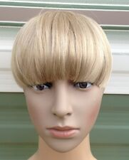 medium blonde clip in on fake fringe bangs hair extension hair piece